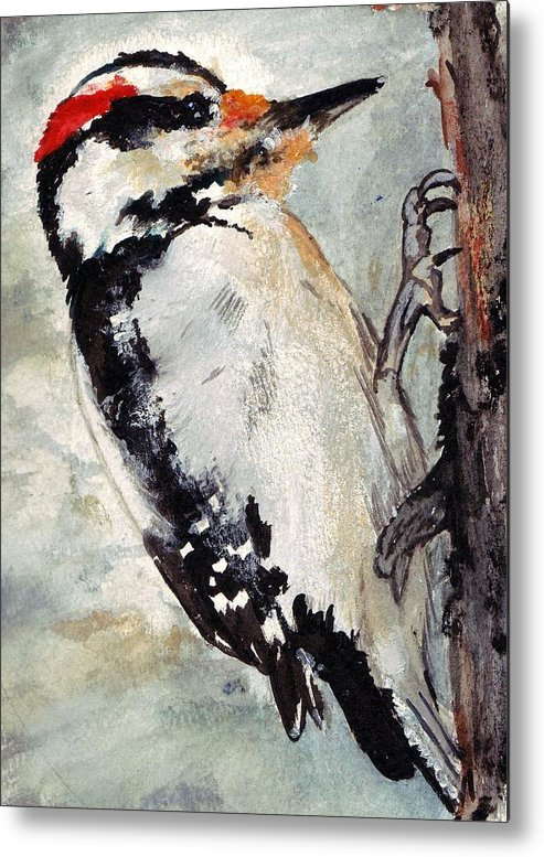 Hairy Woodpecker Metal Print featuring the painting Tappity Tap by Debra Sandstrom
