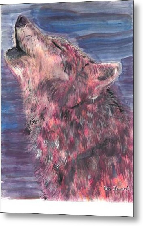 Wildlife Wolves Moonlight Animals Wildlife Portraits Night Howling Wolf Metal Print featuring the painting The Howling 1 by Raymond Doward