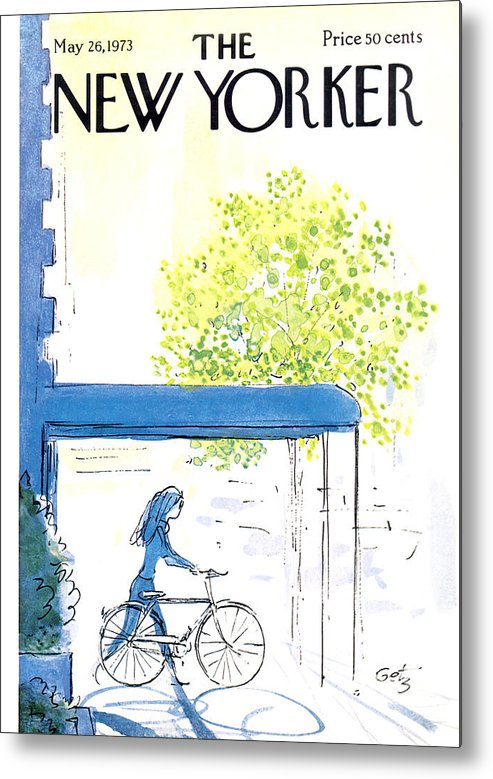 Bicycle Metal Print featuring the painting The New Yorker Cover - May 26th, 1973 by Arthur Getz