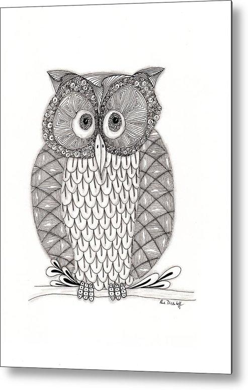Owl Metal Print featuring the drawing The Owl's Who by Paula Dickerhoff