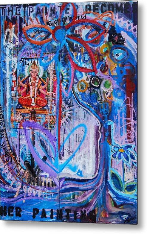 Flower Metal Print featuring the painting The Painter Becomes by Lili Lovemonster