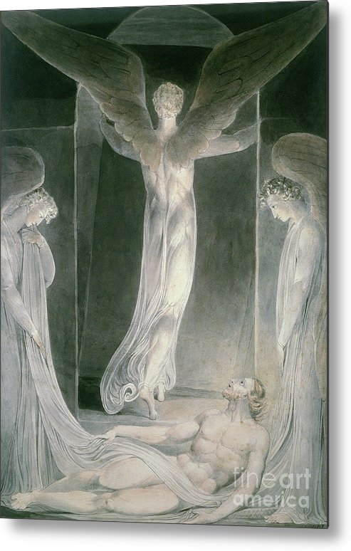 The Resurrection: The Angels Rolling Away The Stone From The Sepulchre By William Blake (1757-1827) Metal Print featuring the drawing The Resurrection by William Blake