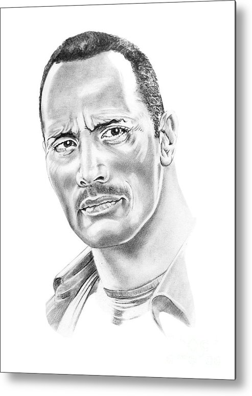 Pencil Metal Print featuring the drawing The Roc  Dwain Johnson by Murphy Elliott
