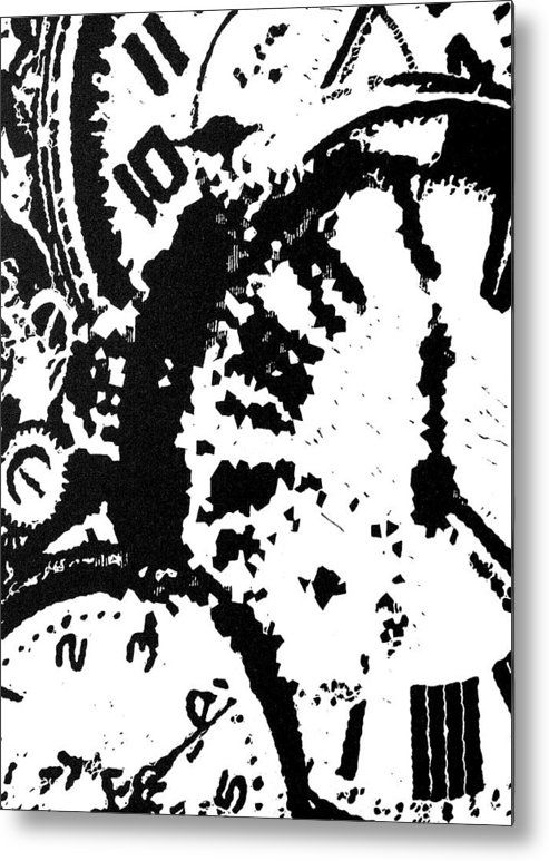 Black Metal Print featuring the painting Time -- Hand-pulled Linoleum Cut by Lynn Evenson