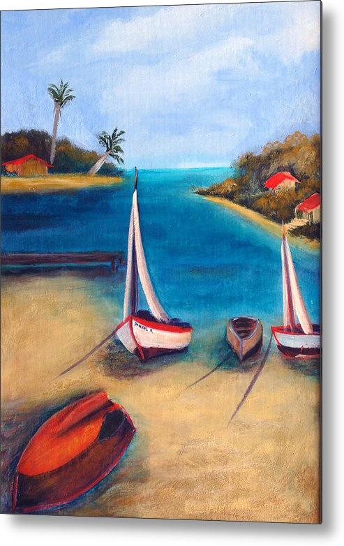 Red Boat Metal Print featuring the painting Time Out by Darlene Green