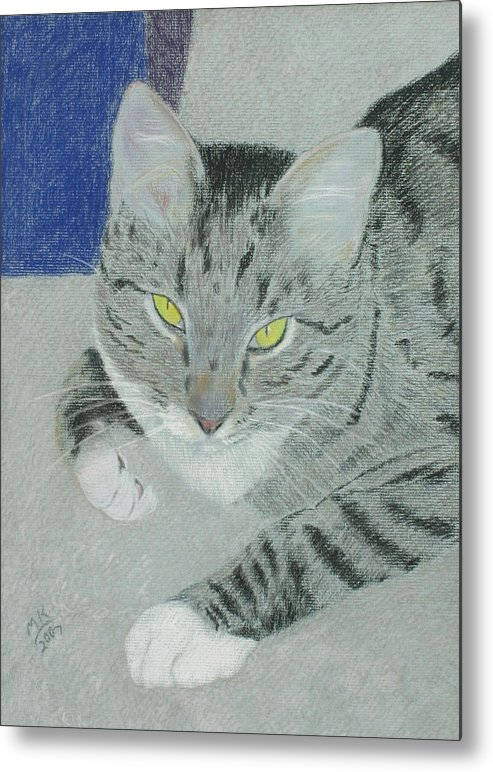 Tabby Cat Metal Print featuring the painting Tom Bombadil by Miriam A Kilmer