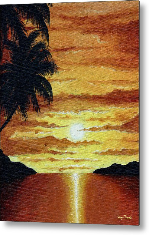 Sunset Metal Print featuring the painting Tropical Sunset by Wayne Pascall