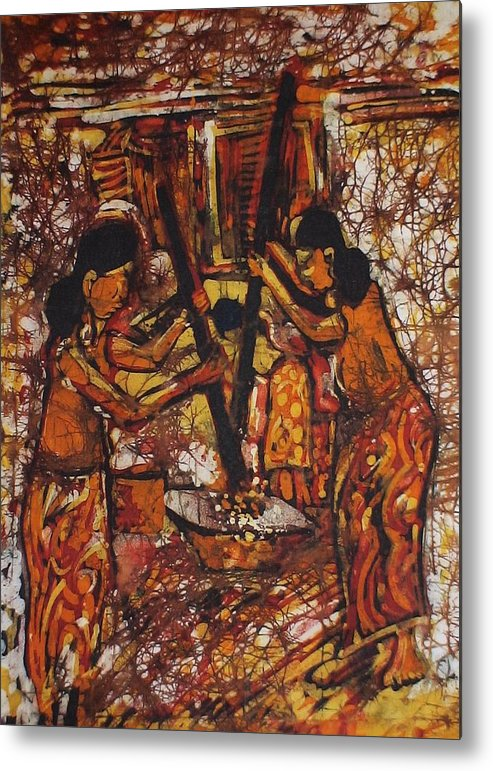 Iban Metal Print featuring the painting Tumbuk Padi by Nicholas Lim