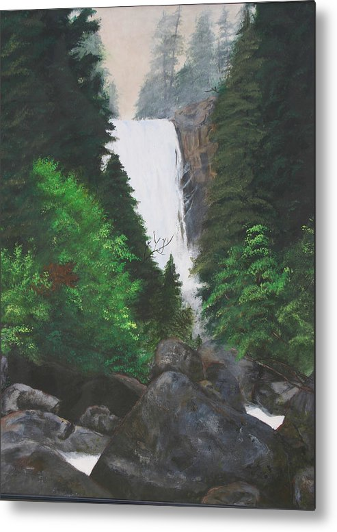 Landscape Metal Print featuring the painting Vernal Falls by Travis Day