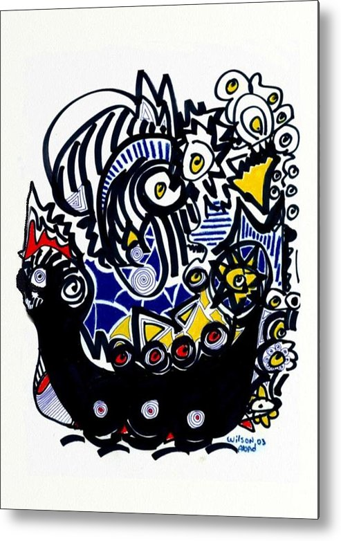 Viking Ship Metal Print featuring the drawing Viking Ship by Wilson Abad