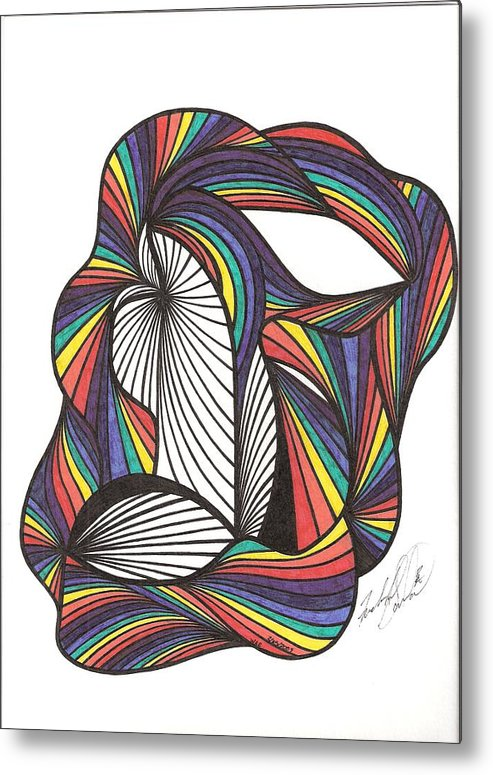 Abstract Metal Print featuring the drawing WAE by Freda Garland