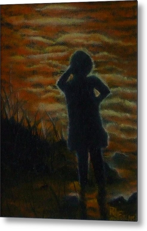 Water Metal Print featuring the painting Watching by Rebecca Fitchett