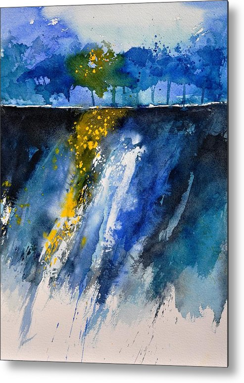 Abstract Metal Print featuring the painting Watercolor 119001 by Pol Ledent
