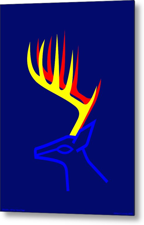Metal Print featuring the digital art White Taled Deer by Asbjorn Lonvig