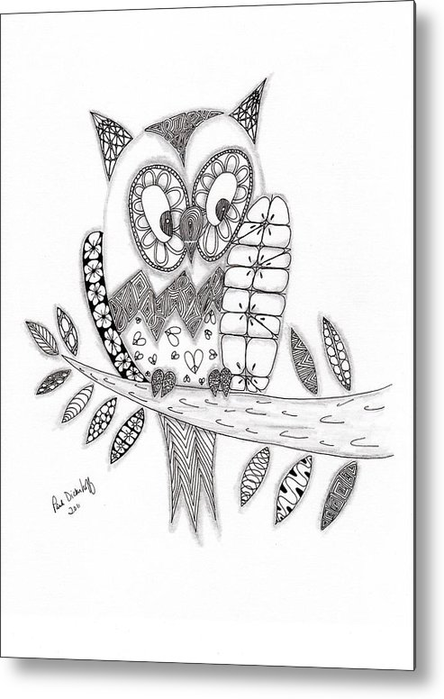 Owl Metal Print featuring the drawing Who Says The Owl by Paula Dickerhoff