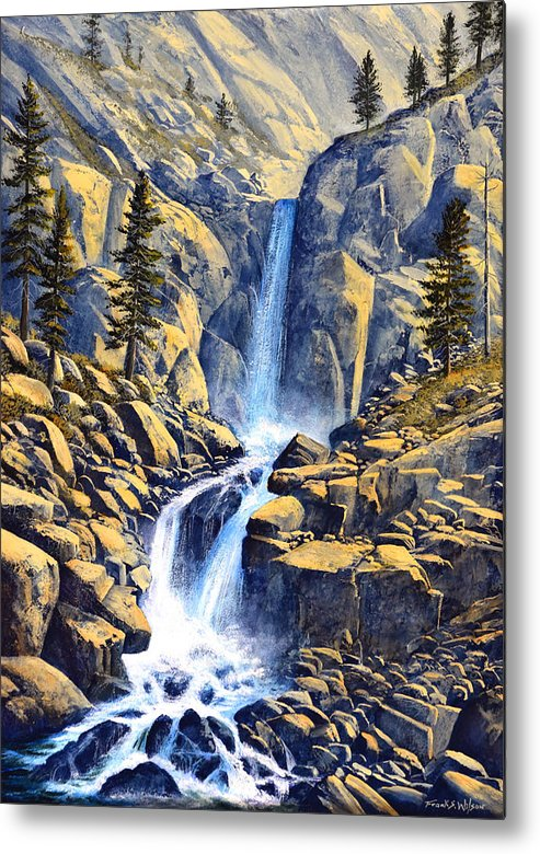 Wilderness Waterfall Metal Print featuring the painting Wilderness Waterfall by Frank Wilson