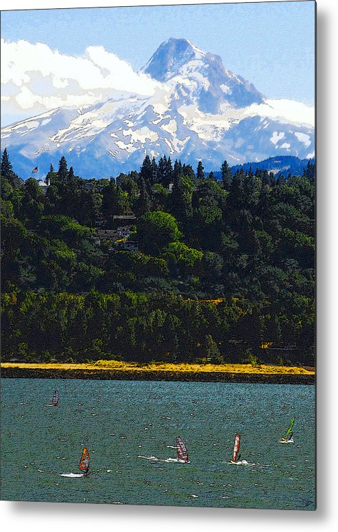Art Metal Print featuring the painting Wind Surfing Mt. Hood by David Lee Thompson