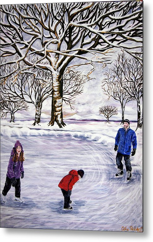 Skate Metal Print featuring the painting Winter Skating In Quebec by Celine Philibert