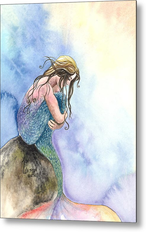 Mermaid Metal Print featuring the painting Wishful Thinking by Kim Sutherland Whitton