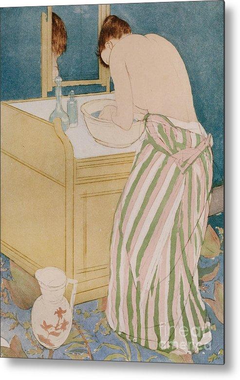 Woman Bathing Metal Print featuring the painting Woman Bathing by Mary Stevenson Cassatt