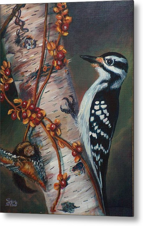 Bird Metal Print featuring the painting Wood Pecker by Sylvia Stone