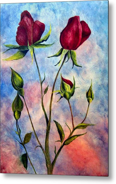Rose Metal Print featuring the painting Woop Woop Rose by JoLyn Holladay