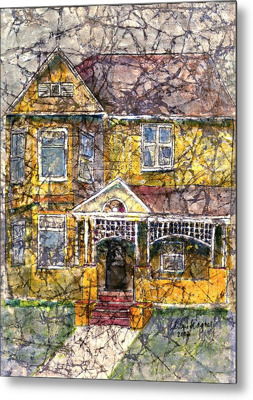 House Metal Print featuring the mixed media Yellow Batik House by Arline Wagner