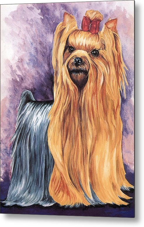 Yorkshire Terrier Metal Print featuring the painting Yorkshire Terrier by Kathleen Sepulveda
