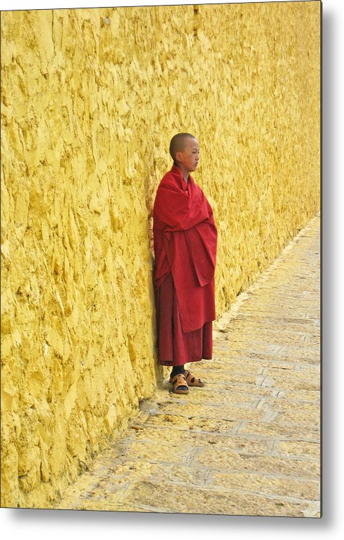 Monk Metal Print featuring the photograph Young Monk Against Yellow Wall by Angela Siener