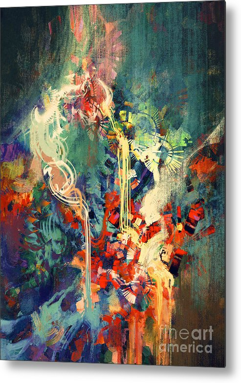 Concept Metal Print featuring the digital art Abstract Colorful Painting,melted by Tithi Luadthong
