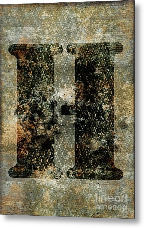 Letter Metal Print featuring the photograph Industrial Letter H by Delphimages Photo Creations