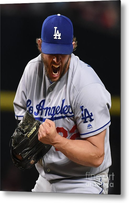 Three Quarter Length Metal Print featuring the photograph Clayton Kershaw And Nick Ahmed by Norm Hall
