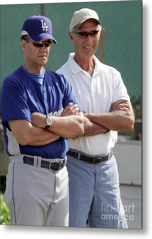 Sandy Koufax Metal Print featuring the photograph Sandy Koufax And Joe Torre by Icon Sports Wire