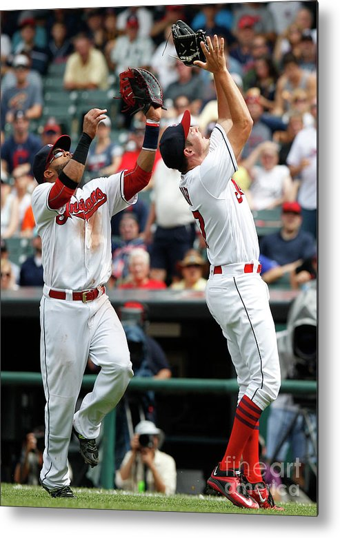 People Metal Print featuring the photograph Trevor Bauer And Carlos Santana by David Maxwell