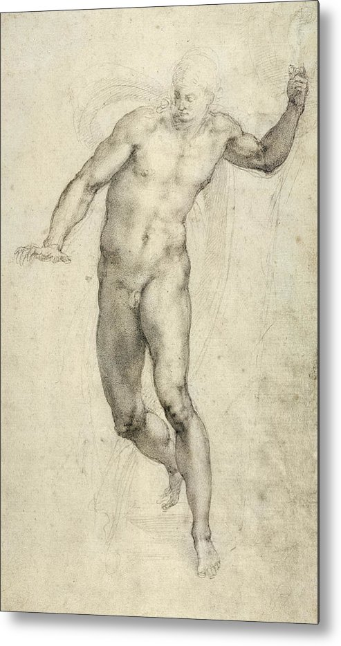Sketch Metal Print featuring the painting Study For The Last Judgement by Michelangelo Buonarroti