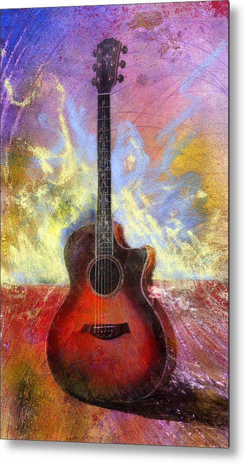 Guitar Metal Print featuring the painting Taylor by Andrew King