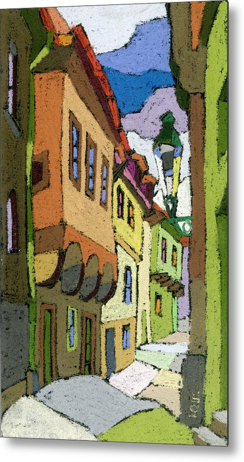 Pastel Metal Print featuring the painting Chesky Krumlov Street Nove Mesto by Yuriy Shevchuk