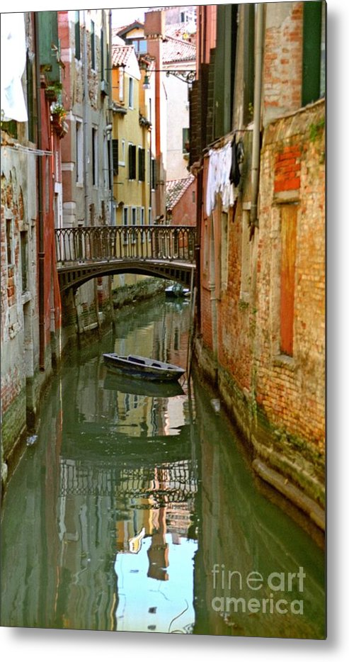 Venice Metal Print featuring the photograph Little Boat On Canal In Venice by Michael Henderson