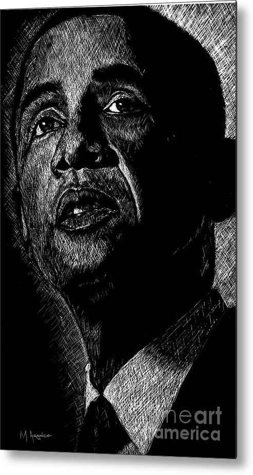 Barack Obama Metal Print featuring the drawing Living The Dream by Maria Arango