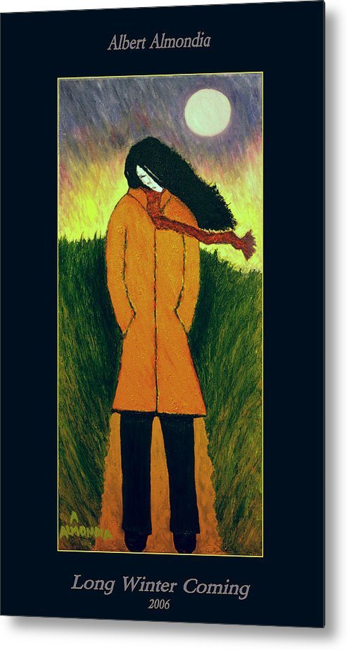 Figurative Metal Print featuring the painting Long Winter Coming by Albert Almondia