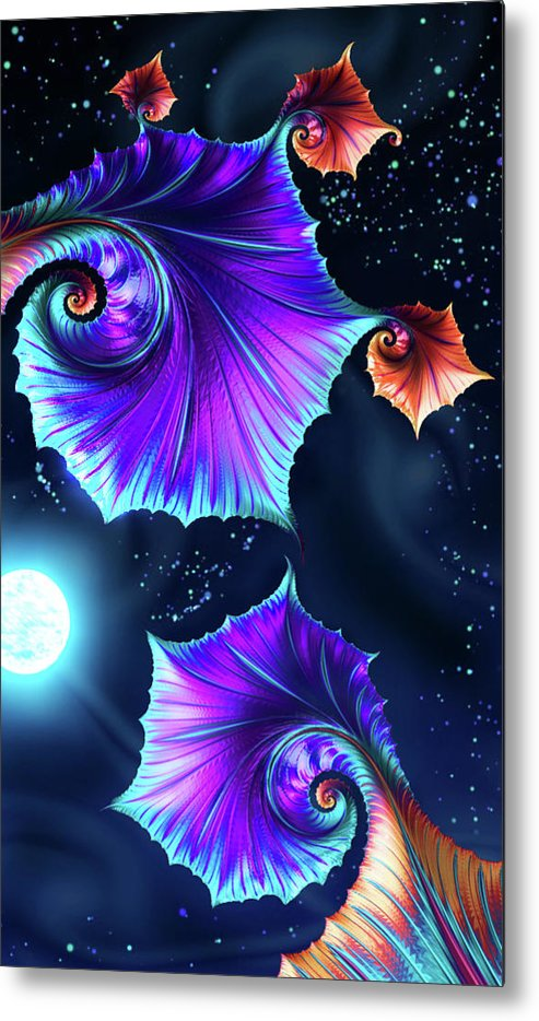 Metal Print featuring the mixed media Moonflowers by Steven Marcus
