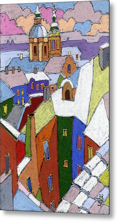 Pastel Metal Print featuring the painting Prague Old Roofs Winter by Yuriy Shevchuk