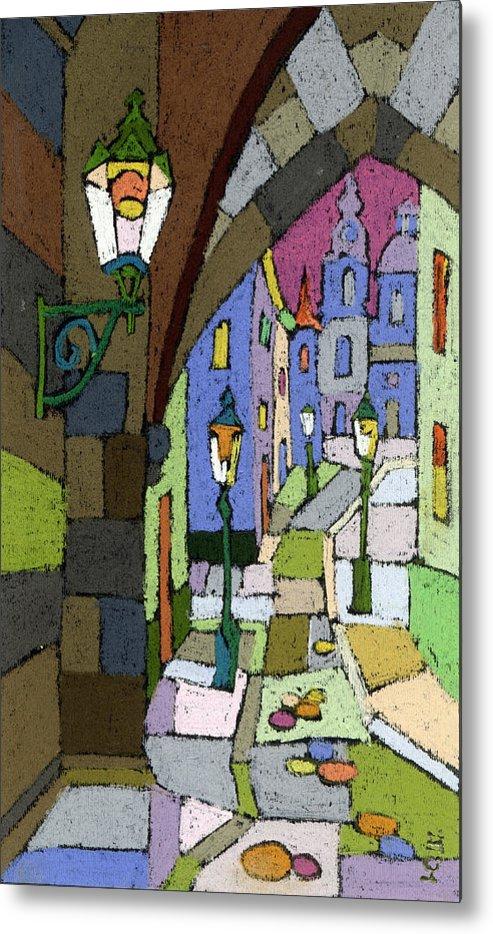 Pastel Metal Print featuring the painting Prague Old Street Mostecka by Yuriy Shevchuk