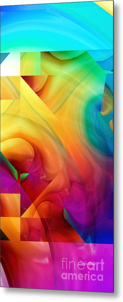 Abstract Realism Blocks Forms Female Abstract Metal Print featuring the digital art Inside Outside Upside Down by Carolyn Staut