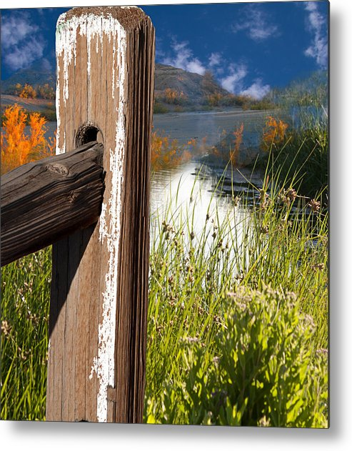 Agriculture Metal Print featuring the photograph Landscape With Fence Pole by Gunter Nezhoda