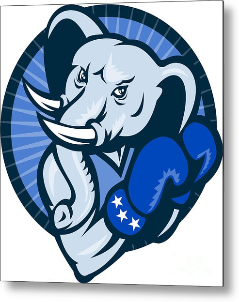 Elephant Metal Print featuring the digital art Elephant With Boxing Gloves Democrat Mascot by Aloysius Patrimonio