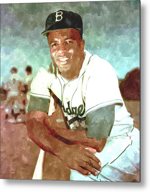 Jackie Metal Print featuring the painting Jackie Robinson by Gianfranco Weiss