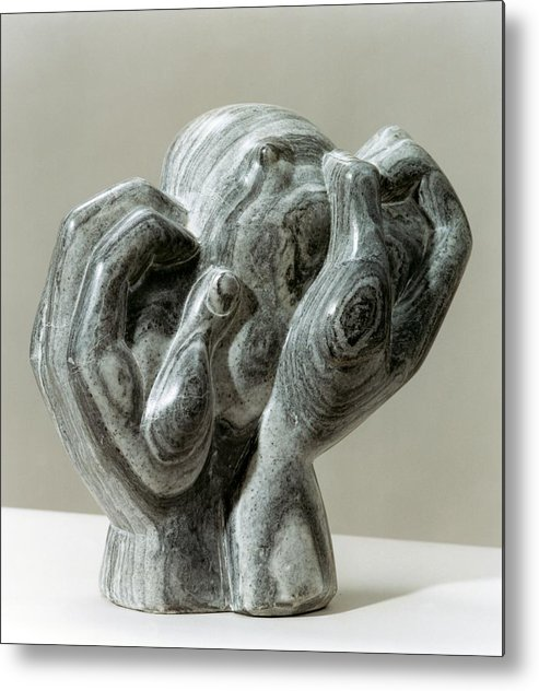 Figurative Metal Print featuring the sculpture Kneading Hands by Shimon Drory