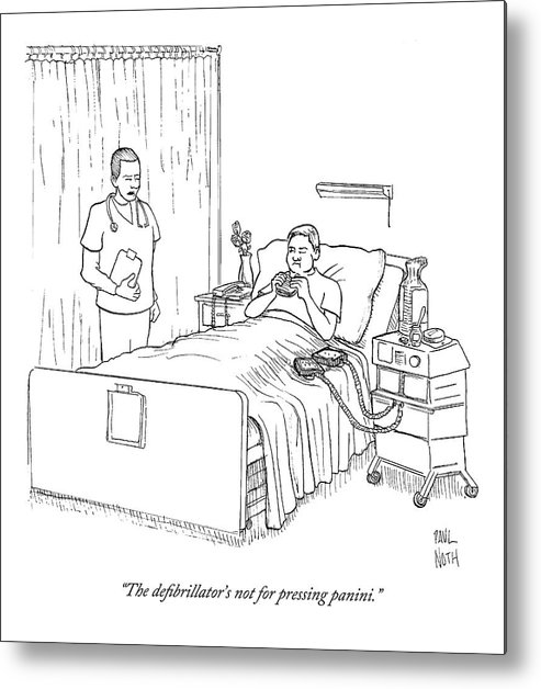 Patient Eating Sandwich In Hospital Bed Metal Print By Paul Noth
