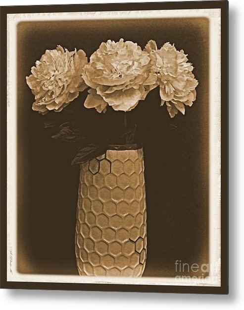 Photo Metal Print featuring the digital art Picture Of Antique Peony Bouquet by Marsha Heiken
